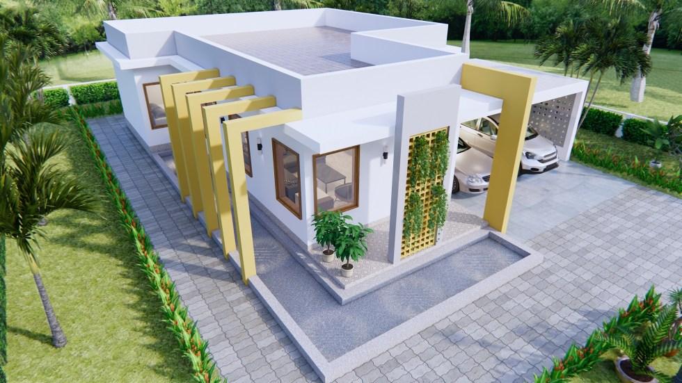 New House Design 12x14 Meter 40x46 Feet 2 Beds 3