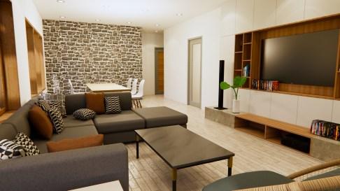 New House Design 12x14 Meter 40x46 Feet 2 Beds Living room 1