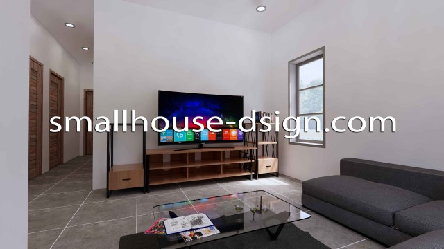 Small House Design 8x9 with 2 Bedrooms Terrace Roof 3D Living room 1