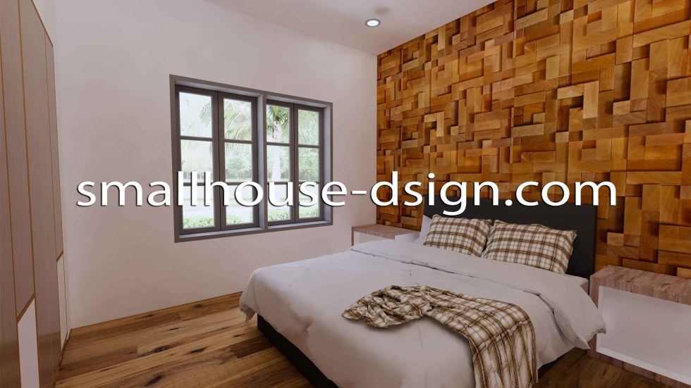 Small House Design 8x9 with 2 Bedrooms Terrace Roof 3D master Bedroom