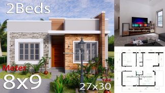 Small House Design 8x9 with 2 Bedrooms