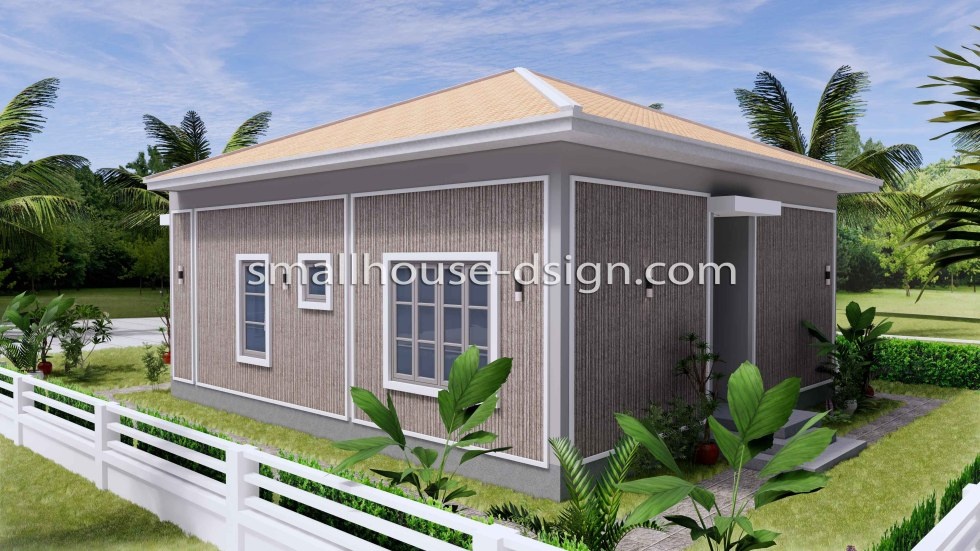 Small House Plan 8x9 with 2 Bedrooms Hip Roof Back 3d 1