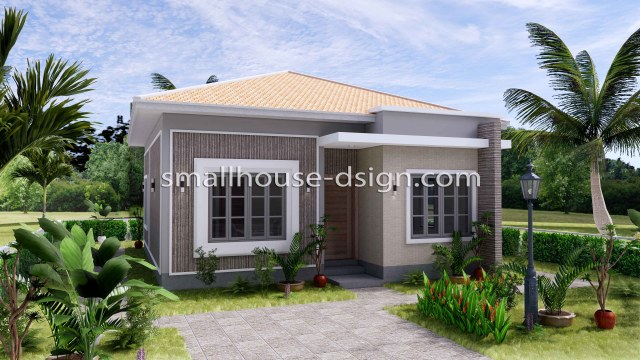 Small House Plan 8x9 with 2 Bedrooms Hip Roof Front 3d