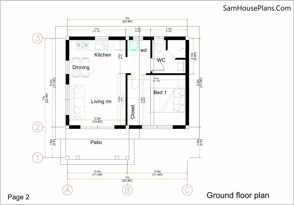 Small House Plan 7x7 with 1 Bedroom Flat Roof ground floor