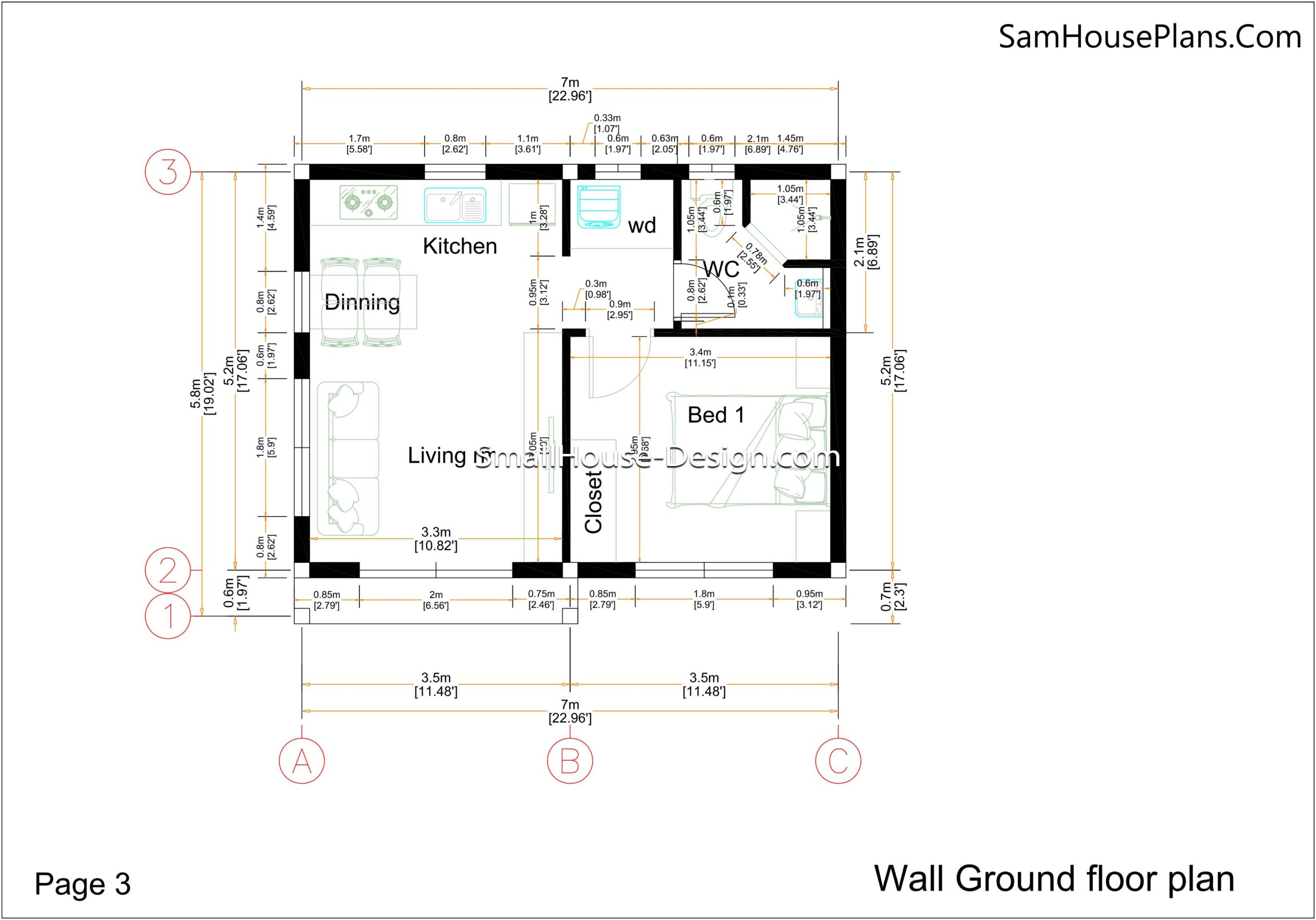 03- Wall detailing floor plan Small House Design 7x6 Shed Roof 1 Bed PDF Full Plans