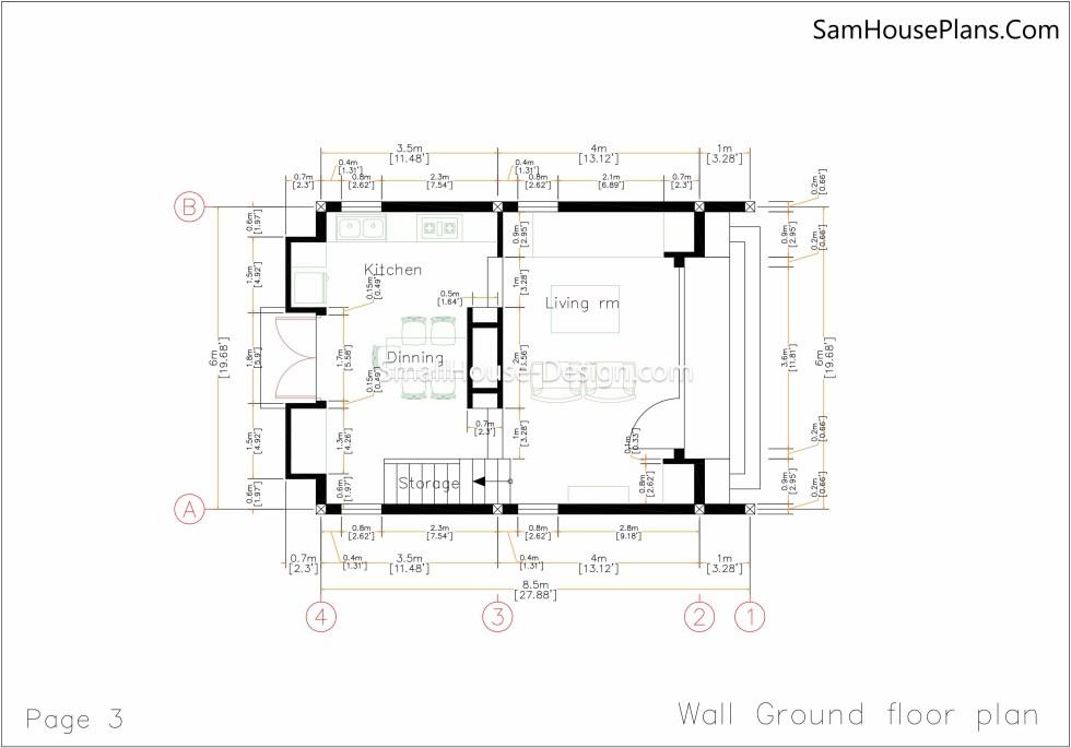 03 wall ground Floor Plan Small House Plan 6x8.5 PDF Full Plans
