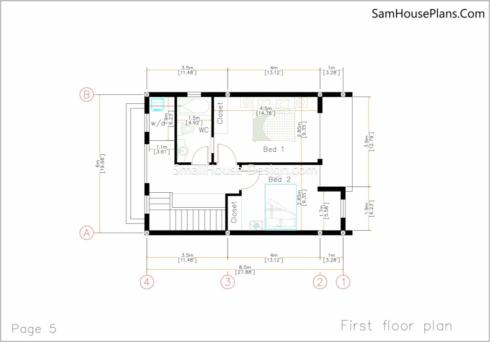 Small House Plan 6x8.5 first floor plan