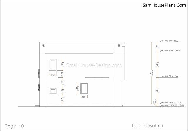 10 Left elevation plan Small House Plan 6x8.5 PDF Full Plans
