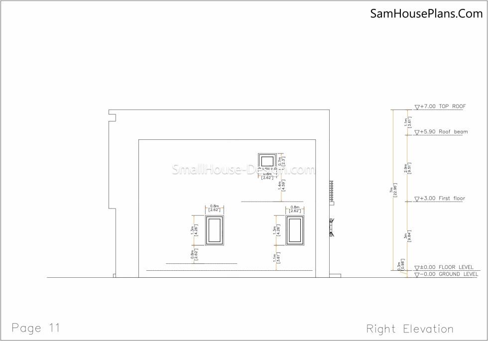 11 Right elevation plan Small House Plan 6x8.5 PDF Full Plans