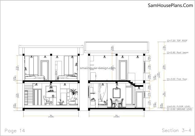 14 Section 3-4 House design Idea 6x8.5 PDF Full Plans