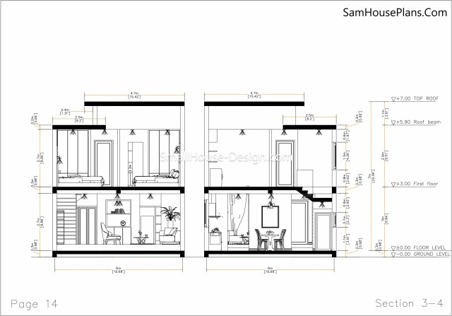 14 Section 3-4 Small House Plan 6x8.5 PDF Full Plans