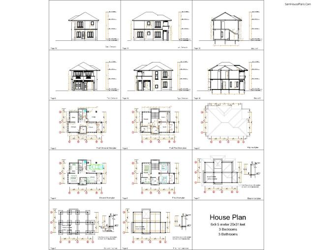 20x31 Small House Plan 3 Bedrooms Hip Roof 6x9.5 M 6x9.5m-all