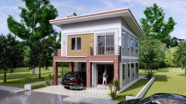 8x10 Small House Design 4 Bedrooms Shed Roof 3d 2