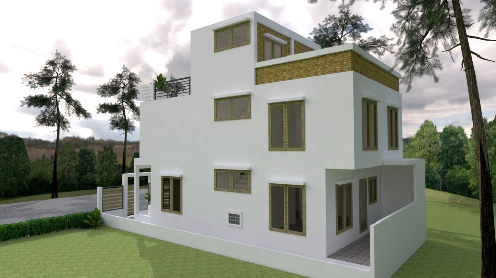 Small Home Plan 7x15 with 3 Bedrooms Back