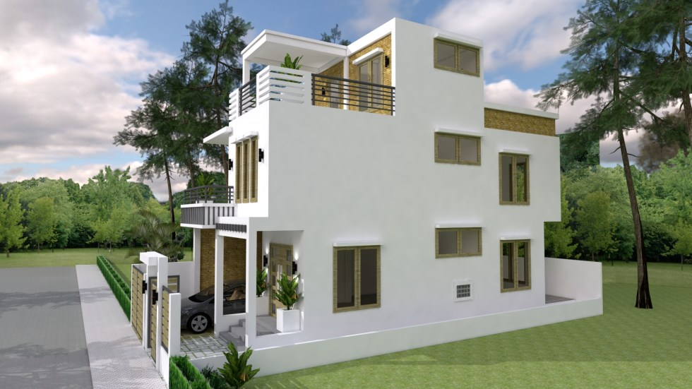 Small Home Plan 7x15 with 3 Bedrooms right 1