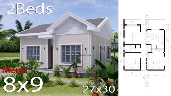 Small House Design 27x30 with 2 Bedrooms Gable Roof