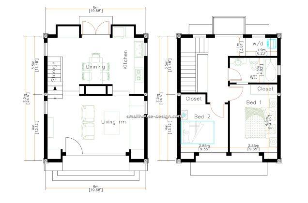 Small House Design 6x7.5 Meters 45 sqm 2 Bedrooms floor plan