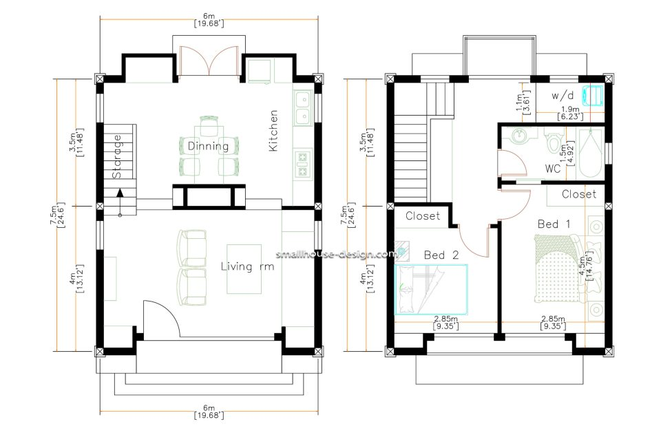 Small House Design 6x7.5 Meters 45 sqm 2 Bedrooms floor plan
