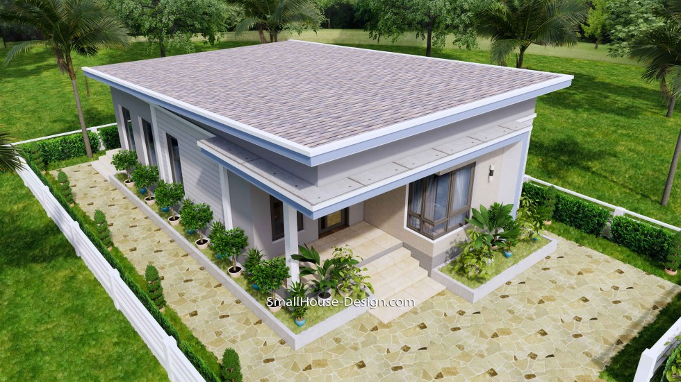 Small House Design 7x11 Meters 2 Bedrooms Shed Roof 23x36 Feet 4