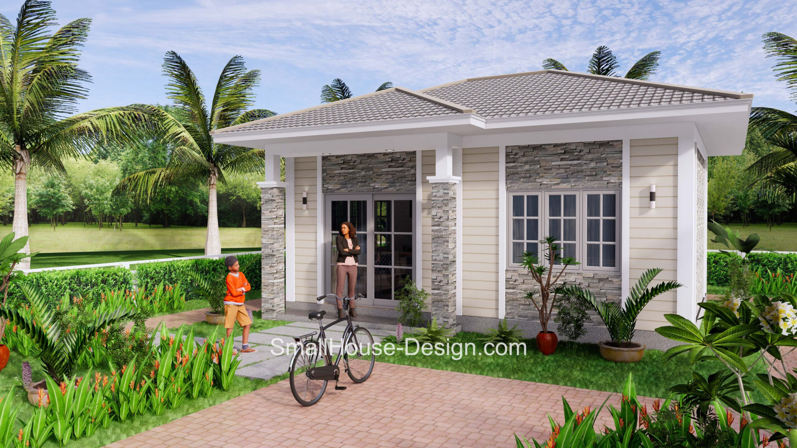 Small House Plan 7x6 Meters 1 Bed Hip Roof 1