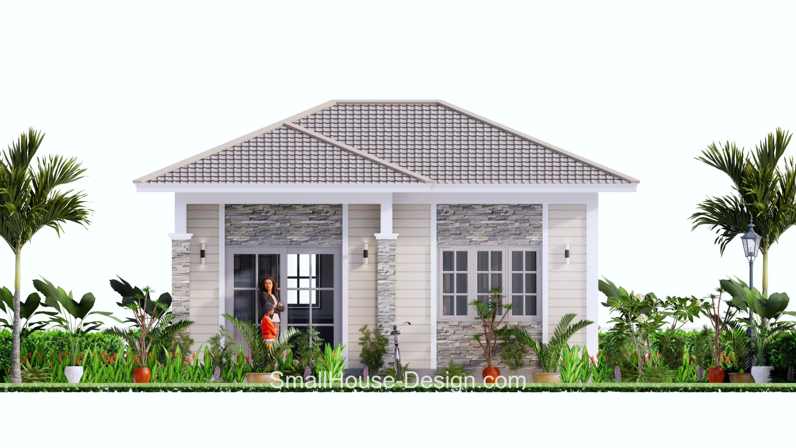 Small House Plan 7x6 Meters 1 Bed Hip Roof Front