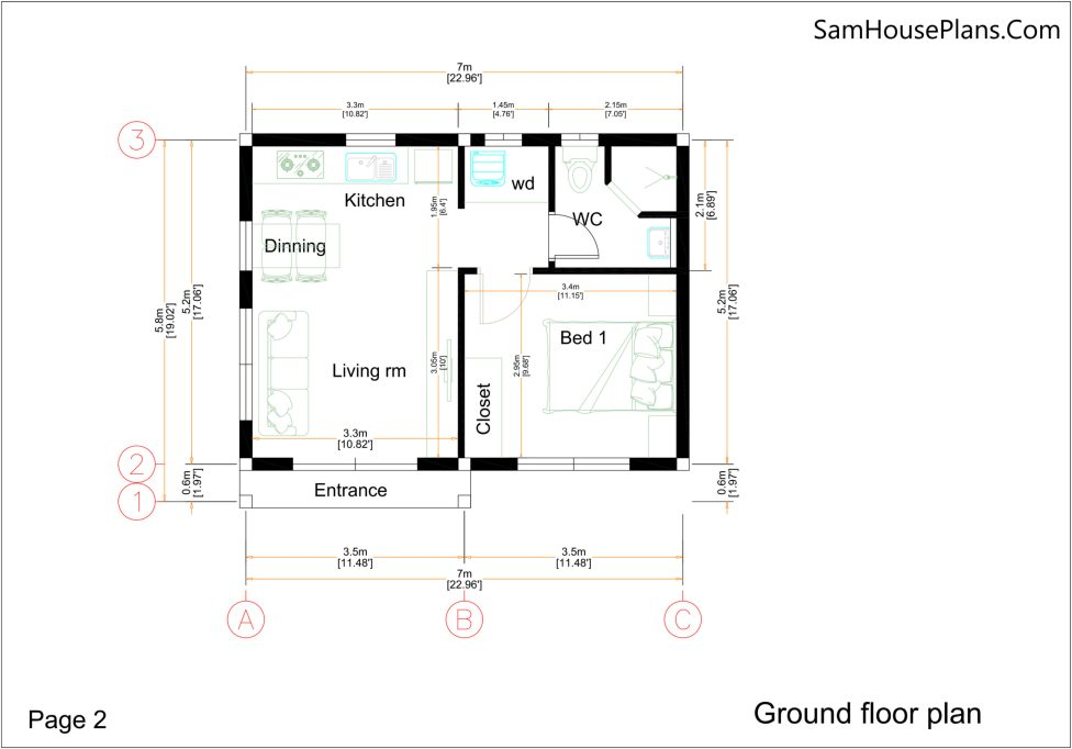 Small House Plan 7x6 Meters 1 Bed Hip Roof - Ground floor plan