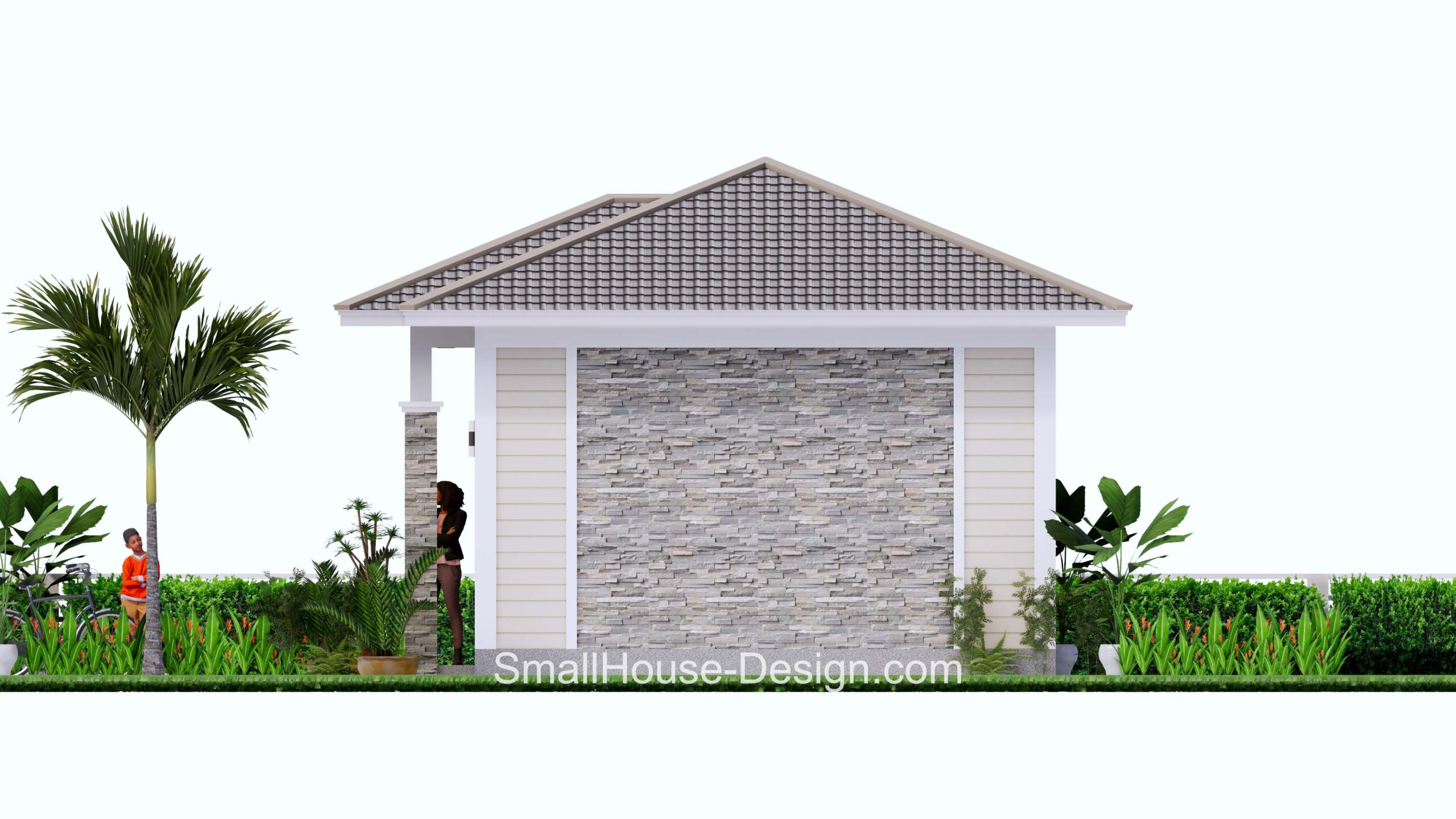 Small House Plan 7x6 Meters 1 Bed Hip Roof Right