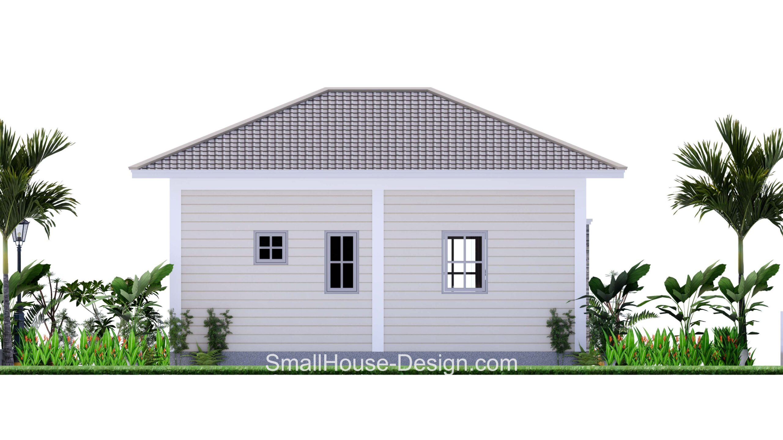 Small House Plan 7x6 Meters 1 Bed Hip Roof bACK