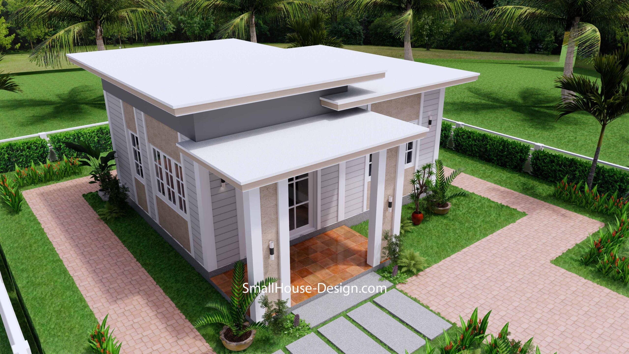 Small House Plan 7x7 with 1 Bedrooms Flat Roof 4