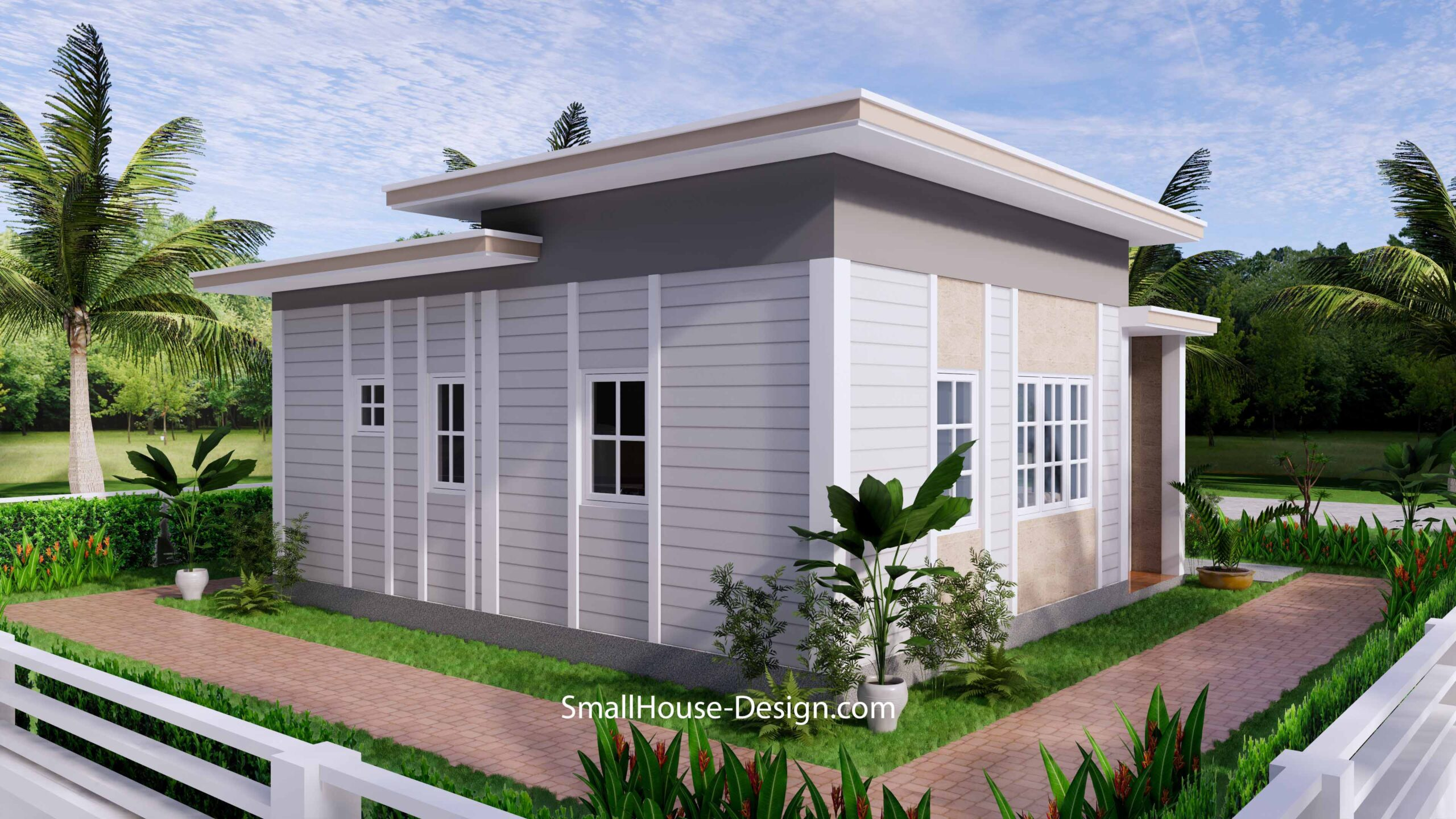 Small House Plan 7x7 with 1 Bedrooms Flat Roof 7