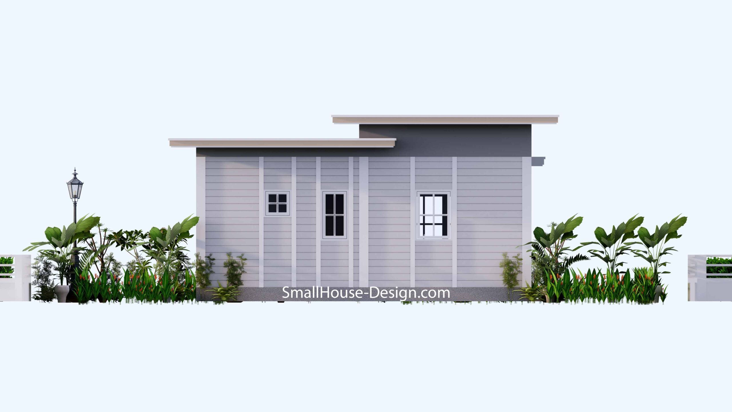 Small House Plan 7x7 with 1 Bedrooms Flat Roof Back view