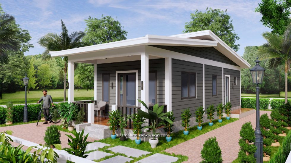 15x40 Small House Design 2 Bedrooms Shed Roof 3