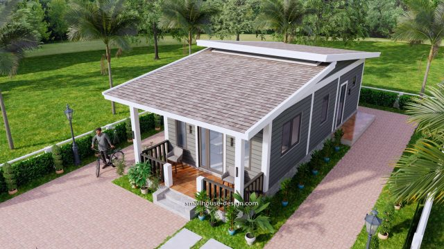 15x40 Small House Design 2 Bedrooms Shed Roof 4
