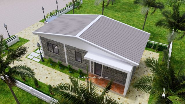 15x40 Small House Plans 2 Beds Gable Roof Full Plans 8