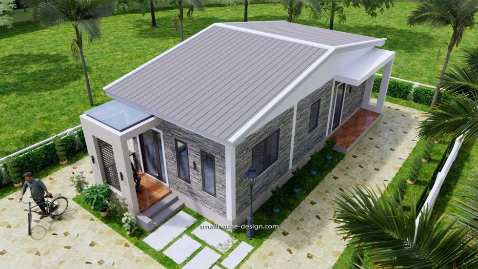 15x40 Small House Plans 2 Beds Gable Roof Full Plans 9