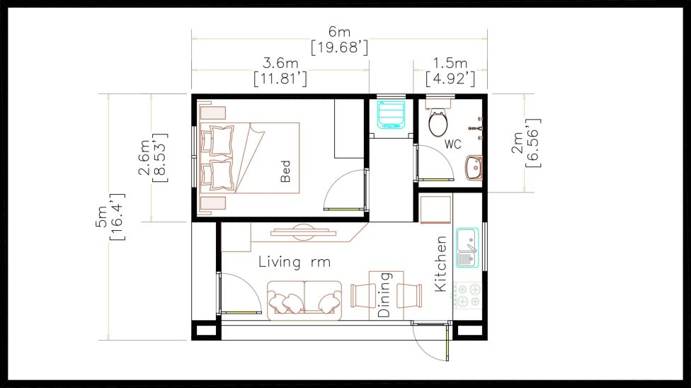 Small House Plans 5x6 M Hip Roof One Bedroom floor plan