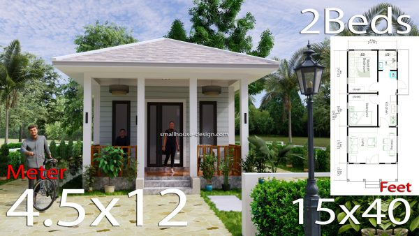 Small House Design 4.5x12 Meters 2 Beds Hip Roof