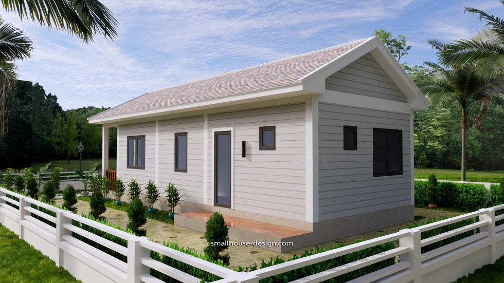 Small House Plans 4.5x12 Meters 2 Beds Gable Roof Style 7