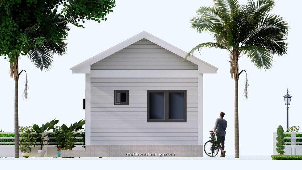 Small House Plans 4.5x12 Meters 2 Beds Gable Roof Style Backview