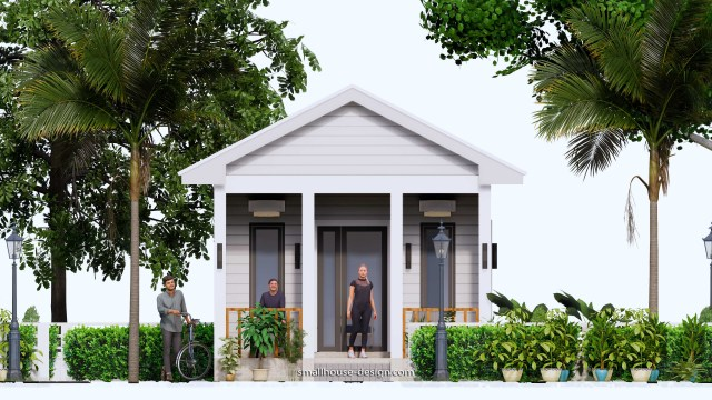 Small House Plans 4.5x12 Meters 2 Beds Gable Roof Style Front view