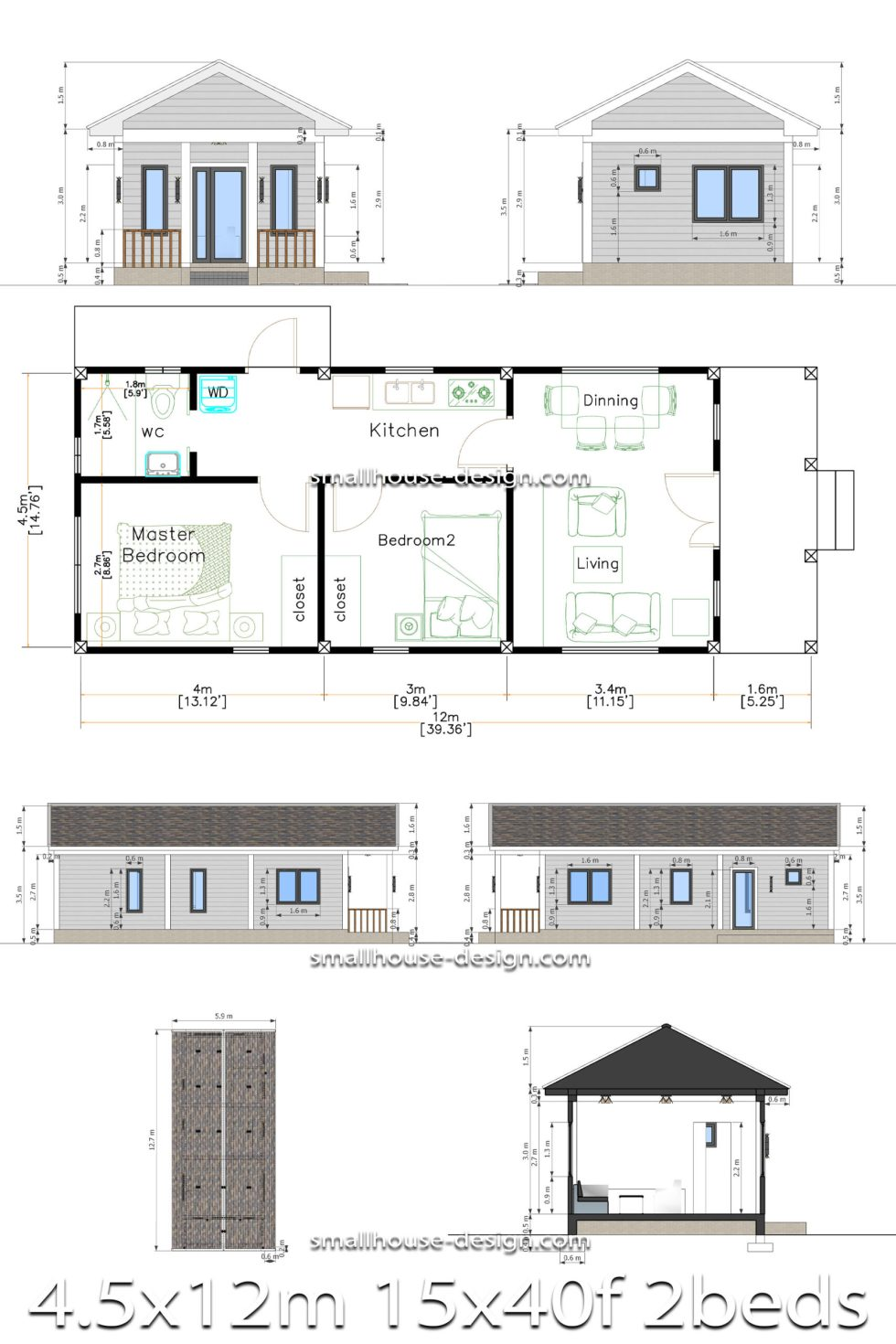 Small House Plans 4.5x12 Meters 2 Beds Gable Roof Style Full detailing