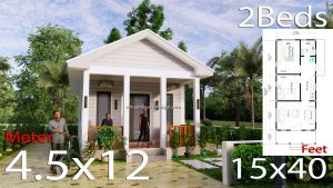 Small House Plans 4.5x12 Meters 2 Beds Gable Roof Style