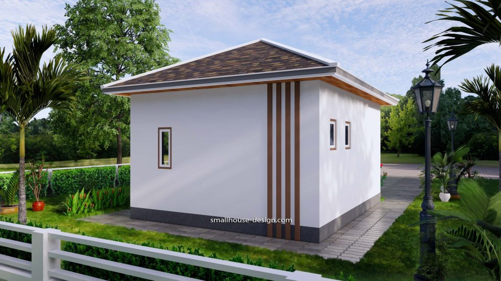 Small House Plans 5x6 M Hip Roof One Bedroom 6