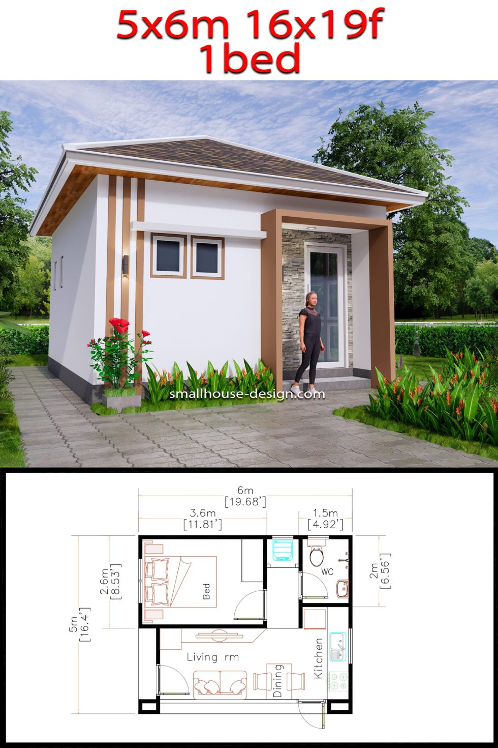 Small House Plans 5x6 M Hip Roof One Bedroom Pdf Plans