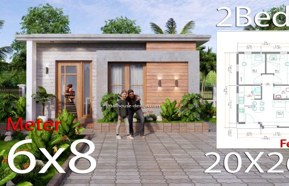 6×8 Small House Design with 2 Beds 48 sqm 3d