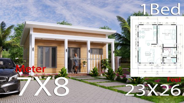 7x8 Meters Small House Design One Bedrooms