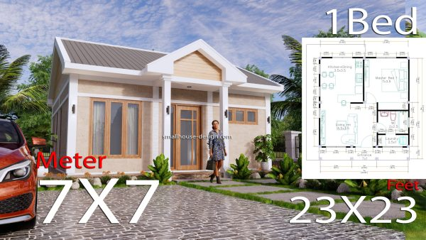 House Plans 7x7m One Bedrooms Full Plans 3d