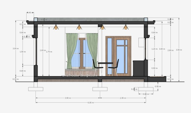 Small House Design 6x8 with 2 Beds 48 sqm 3d Section 1