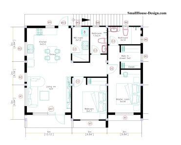 10x8 Small House Design 33x27 Feet 2 Bedrooms PDF Plan Layout floor plan