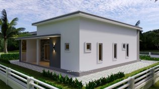 12x11 Small House Plan 3 Bedrooms 40x36 Feet Flat Roof back 1